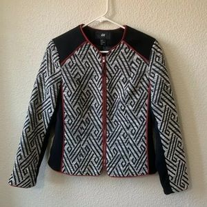 H&M Black White Embroidery Zip Up Blazer Coat 8